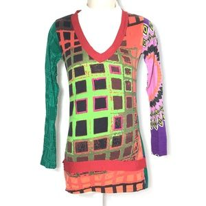 Desigual Top Blouse Patchwork V-Neck Multi Red XS